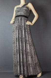 JAMILLE PRINTED ONE SHOULDER PLEATED SILK MAXI GOWN DRESS 12 $348
