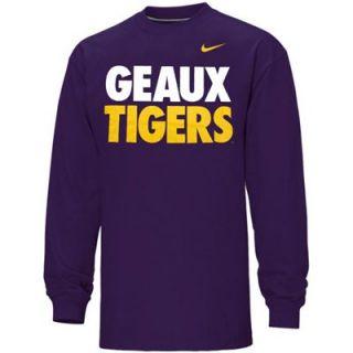 Nike LSU Tigers Geaux Tigers Long Sleeve T Shirt   Purple