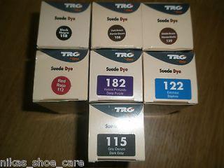 new TRG 50ml Suede shoe/boot dye /red,dark grey,black,brown,purple
