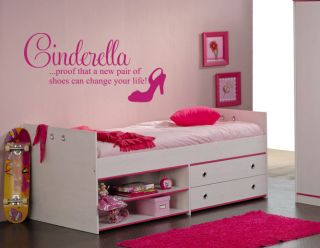 Cinderella Shoes Change Life Quote Wall Art Sticker Decal Kids Room