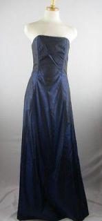 Jessica McClintock for Gunne Sax Navy Blue Strapless Gown Prom Dress