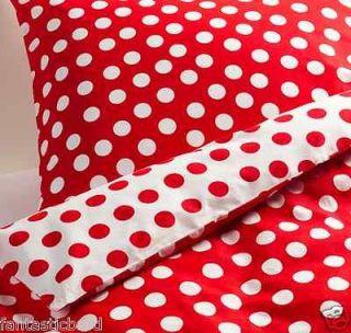 IKEA Red Polka Dot Duvet Cover Full Queen Set NEW Stenklover