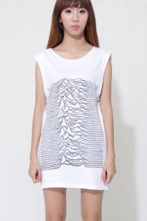 Unknown Pleasures Joy Division Women Oversize Sleeveless white Rock T