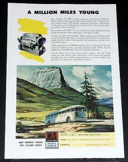 MAGAZINE PRINT AD, GM DIESEL POWER, GREYHOUND BUS LINES, NICE ART