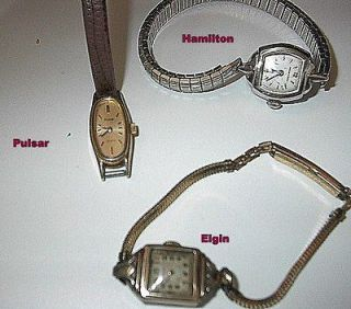 Ladies Watches, 2 vintage Elgin, Hamilton, Pulsar