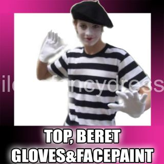 FRENCH MIME ARTIST XS COSTUME BERET T SHIRT GLOVES FACEPAINT FANCY