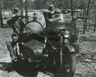 WWII HARLEY DAVIDSON SIDECAR MILITARY MOTORCYCLE PHOTO ARMY SOLDIERS