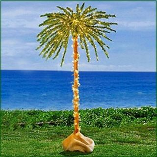 Foot Tropical Palm Tree with 300 Clear  Sparkly Lights Great Outdoor