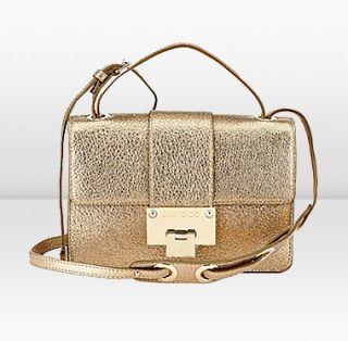 Jimmy Choo  Rebel  Gold Glitter Leather Cross Body Bag  JIMMYCHOO