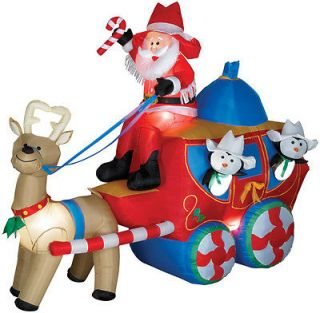Stage Coach Christmas Santa Xmas Holiday Outside Yard Decor Inflatable