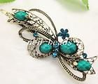 Green gemstone beads big wave bowknot hair barrette clip clamp#NL0502H