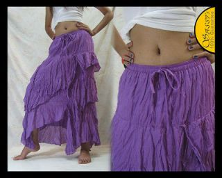 SKIRT SAF11 PURPLE COTTON ASYMMETRICAL BELLY DANCE CASUAL FUNKY HIPPIE