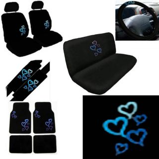 15pc Set TRUCK Seat Wheel Belt Head Pad Cover Blue Love Heart + Black
