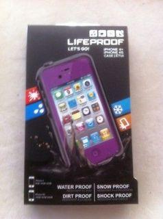 Lifeproof Waterproof case iPhone 4S 4 Purple + headphone adapter