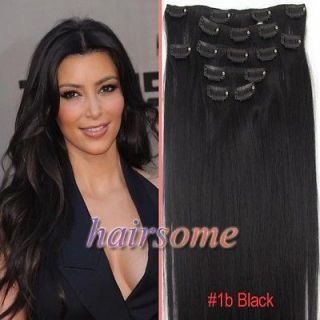 Weft Hair~7pcs 15 Clip In Straight Remy Human Hair Extensions #1b