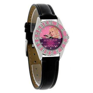 Disney Hannah Montana Ladies Pink Purple Black Leather Band Quartz