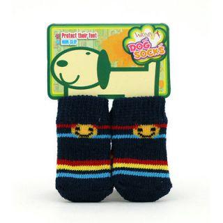 Deep blue bottom smiling face stripe dog socks,WONPET / LL 042