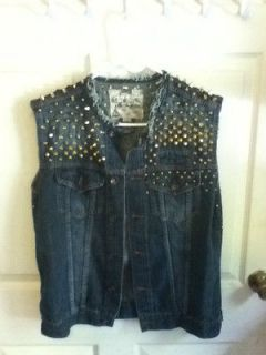 punk vest M/L studded studs punx goth rock and roll misfits DIY gold
