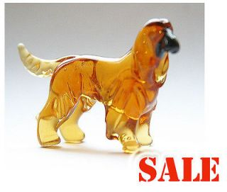 Afghan Hound Dog Murano Glass Russian Art Artisan Figurine Statue Dog