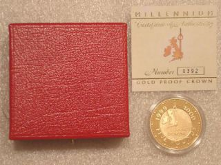 2000 ROYAL MINT MILLENNIUM £5 FIVE POUND GOLD PROOF COIN BOX COA