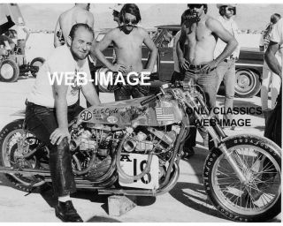1972 HARLEY DAVIDSON TWIN ENGINE MOTORCYCLE RACING PHOTO BONNEVILLE