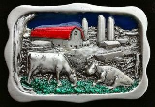 HOLSTEIN DAIRY COW FARM RANCH BARN SILO OLD BELT BUCKLE BOUCLE DE