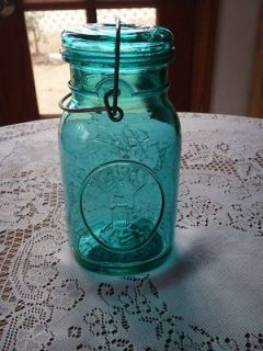 VINTAGE BALL IDEAL MASON JAR w/ LID GREEN/BLUE BICENTENNIAL EAGLE 2QT