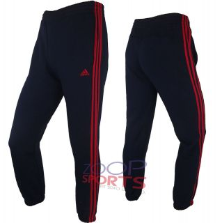 STRIPE SWEAT PANTS NAVY RED FLEECE TRACKSUIT CUFFED BOTTOM 8Y  14Y