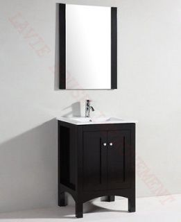 24 Bathroom vanity, Solid wood cabinet. Ceramic counter top, build in