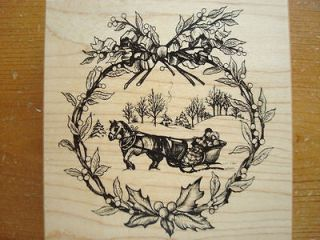 new RARE MINT PSX K3194 HORSE DRAWN CHRISTMAS SLEIGH RIDE rubber stamp