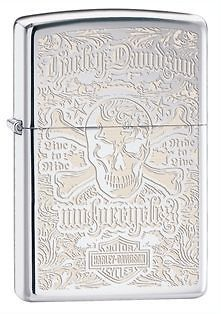 Zippo Harley Davidson Skull  Lighter, High Polish Chrome, Low Ship