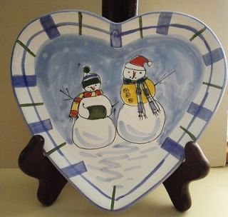 Handcrafted Hungary Mesa Int Snowman Heart Shaped Winter Plate