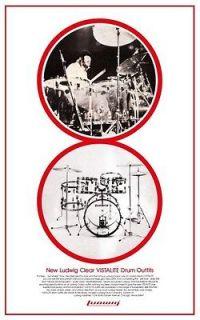 John Bonham POSTER Ludwig Vistalite Drum Promo Ad LED ZEPPELIN Vista