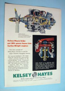 image of Turbo Compound Engine w/ KELSEY HAYES Wheel Co 1955 Print Ad
