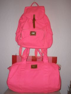 Victorias Secret PINK Bright Neon Pink Backpack/Duffle Bag Set NWT