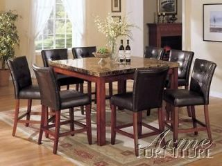 Pc Bologna Counter Height Faux Marble Top Dining Table Set