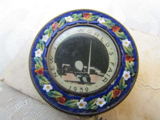 RARE* 1939 New York Worlds Fair MOSAIC Pin   micromosaic   ornate