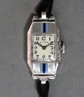 Illinois Ladys Wrist Watch  Restaored Art Deco Enamel Bezel  Vintage c