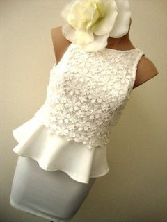 NWT SIZE 6 white crochet lace PEPLUM FITTED mini COCKTAIL DRESS SKIRT