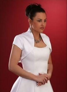 White or Ivory jacket Bolero/shrug coat F Wedding Bridal dress stock