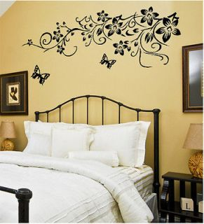 Flower Butterfly Removable Wall Sticker Home Decor Art Decal 90*60cm