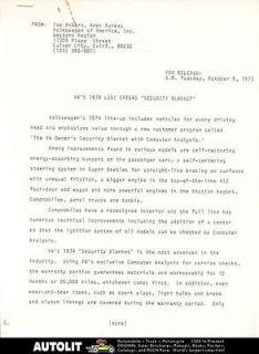 1974 vw beetle karmann ghia bus 412 thing press release