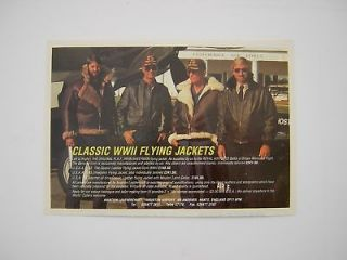 Original Advert 1988   Flying Jackets   RAF Irvin USAAF