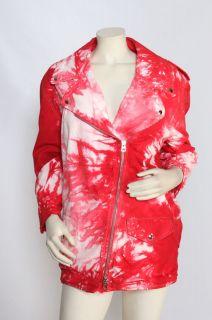 ISABEL MARANT Idini Red Tie Dyed Motorcycle Jacket Coat sz 36 US 6 M