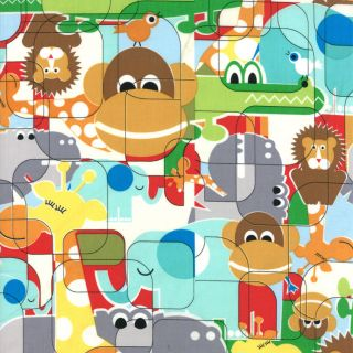 Fabric Animal Monkey Lion Giraffe Elephant Novelty Cotton Fabrics