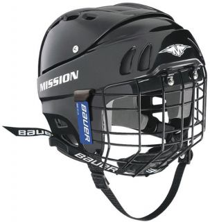 MISSION HELMET 1505 BLACK WITH BAUER CAGE *NEW*