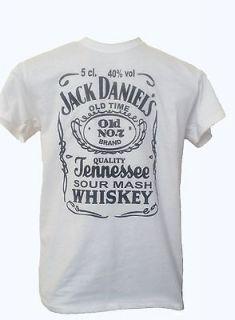 New Jack Daniels White T shirt Top Festival Music Whiskey Slogan