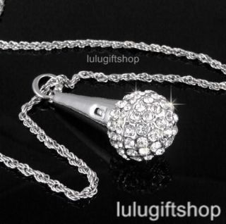 WHITE GOLD PLATED MICROPHONE PENDANT NECKLACE USE SWAROVSKI CRYSTALS