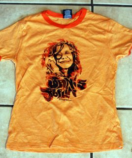 Janis Joplin Orange Juniors Ladies T Shirt