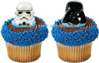 Star Wars Cupcake Rings Favors Cake Decoration Toppers 6ct